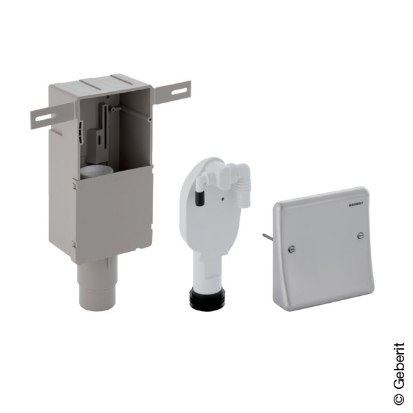 Geberit concealed trap for appliances, with built-in wall box