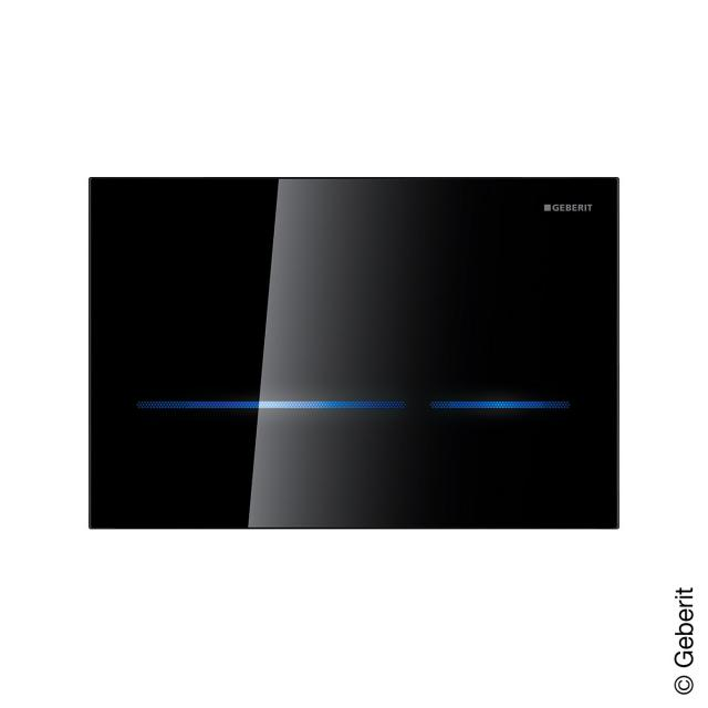 Geberit HyTronic Sigma80 sensor flush plate for dual flush black glass