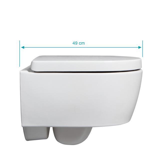 Geberit iCon & Tellkamp Premium 1000 short wall-mounted toilet set: rimless toilet, with KeraTect, toilet seat with soft-close
