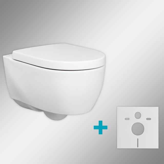 Geberit iCon & Tellkamp Premium 1000 wall-mounted washdown toilet set short with mounting accessories: toilet seat with soft-close, rimless toilet white, with KeraTect
