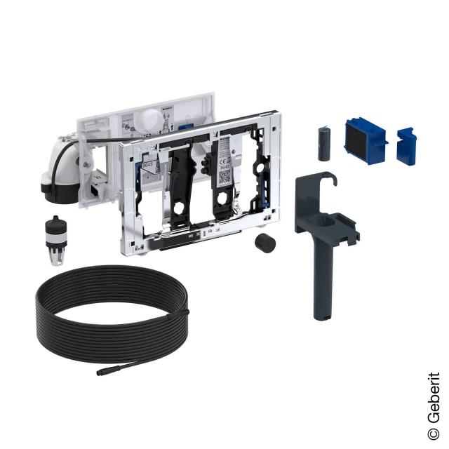 Geberit module with automatic odour extraction and slot for DuoFresh stick chrome