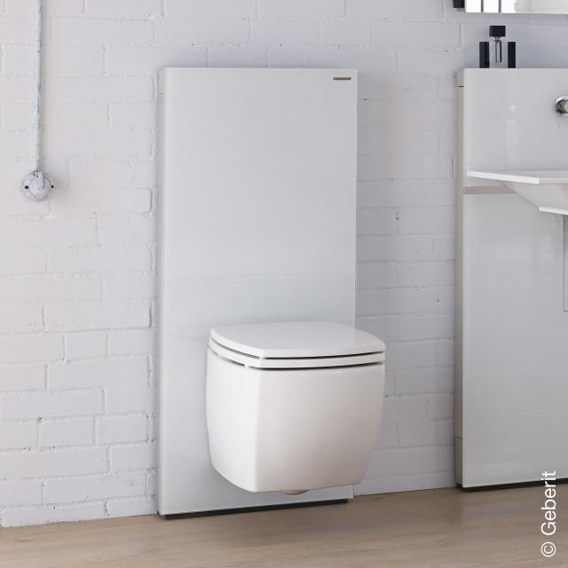 Geberit Monolith Plus sanitary module for wall-mounted toilet H: 114 cm, white glass