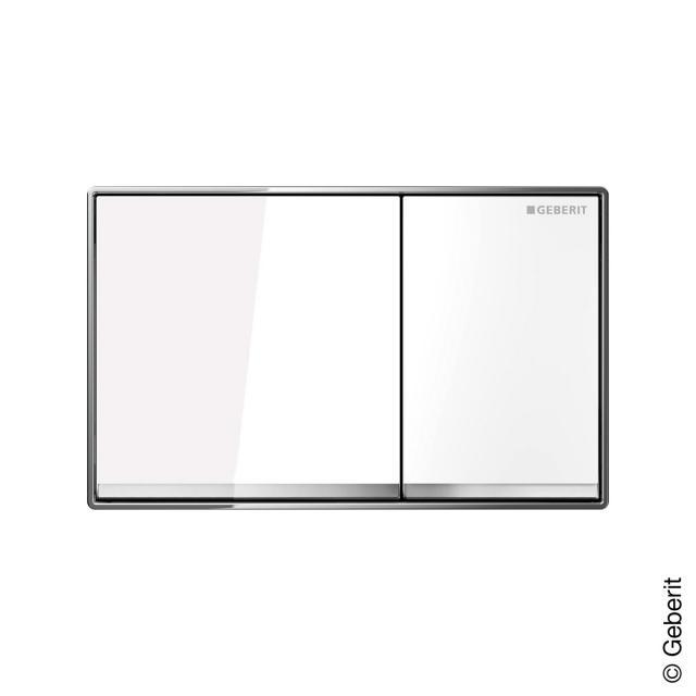 Geberit Omega60 flush plate for dual-flush system white glass