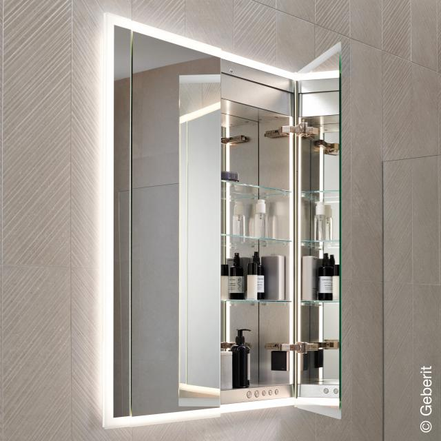 Geberit ONE mirror cabinet with LED lighting with 2 doors