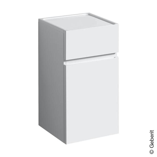 Geberit Renova Plan side unit with 1 door and 1 pull-out compartment front white high gloss / corpus white high gloss