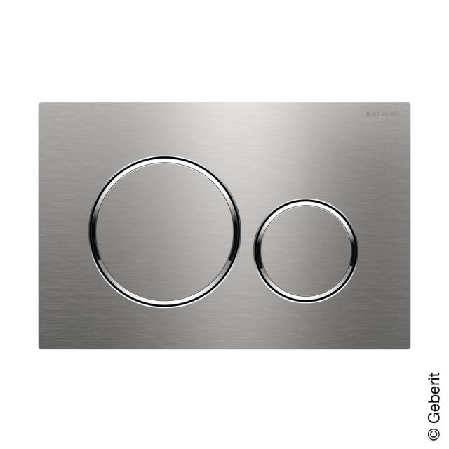 Geberit Sigma20 flush plate for dual flush system, screwable brushed stainless steel/polished stainless steel