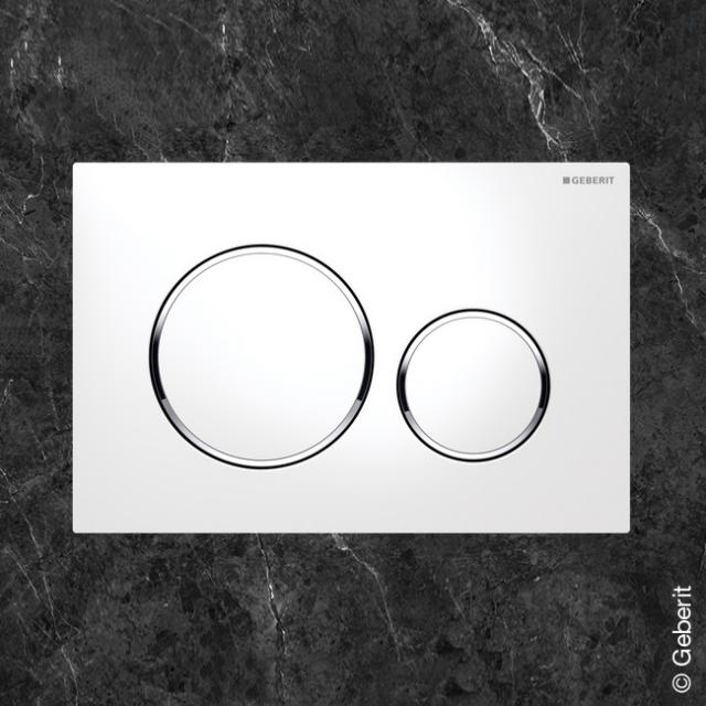 Geberit Sigma20 flush plate for dual flush system white/chrome