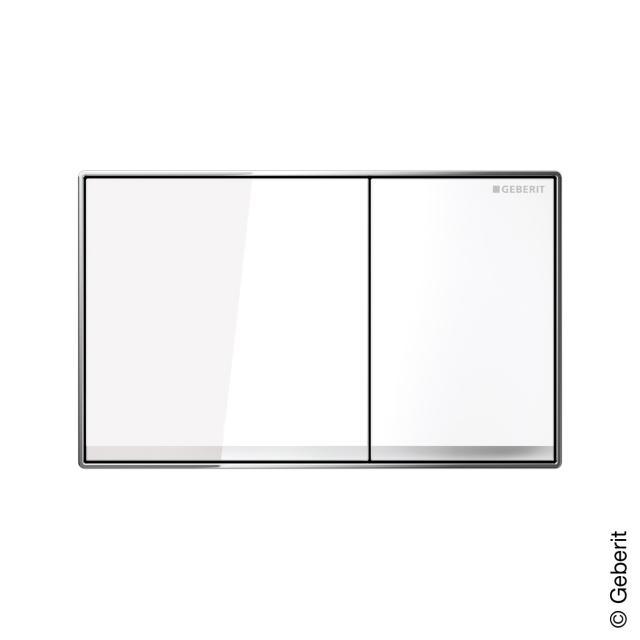 Geberit Sigma60 flush plate for dual flush system, flush-mounted white glass