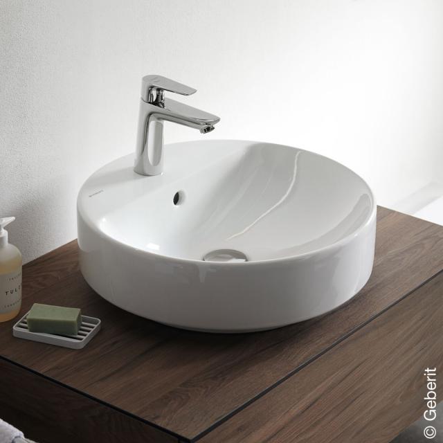Geberit VariForm countertop basin, round white, with overflow