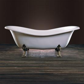 Schröder Cleopatra Retro Style freestanding bath white, with lion paws and waste set in antique gold