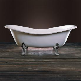 Schröder Cleopatra Retro Style freestanding bath white, with lion paws and waste set in chrome