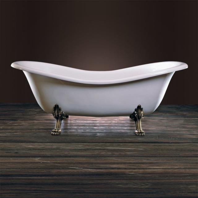 Schröder Cleopatra Retro Style freestanding oval bath white, with lion paws and antique gold waste set