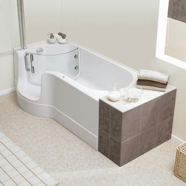 Schröder Pazifik rectangular bath with shower zone and panelling left corner
