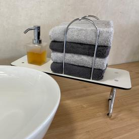 Giese washbasin board with soap dispenser and bars for towels