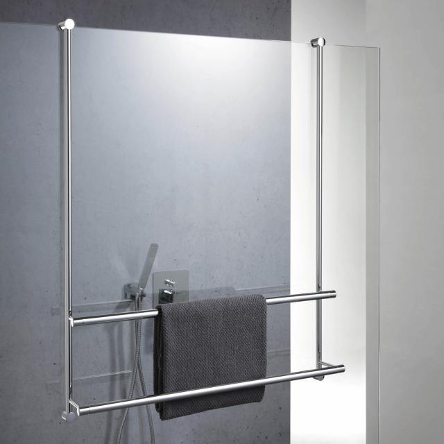 Giese Server towel rail for glass shower panel W: 650 H: 830 mm