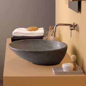 Globo Le PIETRE countertop washbasin, round, asymmetrical peperino grey