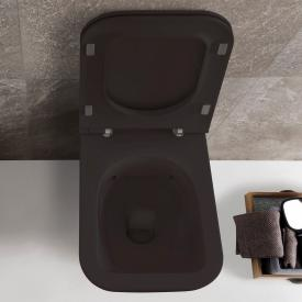 Globo STONE SENZABRIDA® wall-mounted washdown toilet, rimless matt black, with CERASLIDE® and BATAFORM®