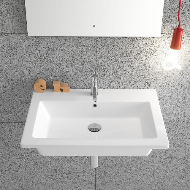 Globo FORTY3 washbasin white, with 1 tap hole