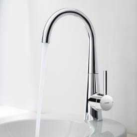 Hansa Designo monobloc, single lever basin mixer with flexible pressure hoses with pop-up waste set