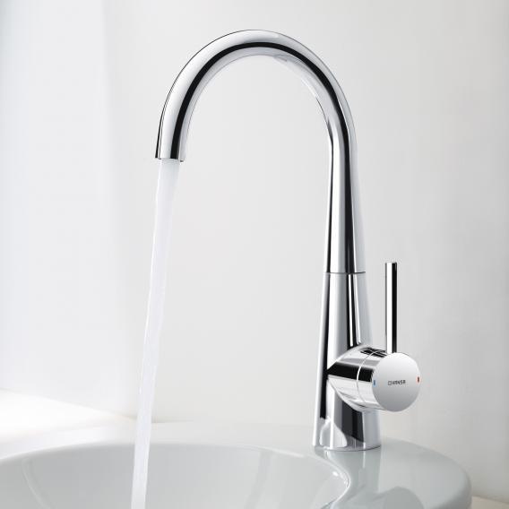 Hansa Designo monobloc, single lever basin mixer with flexible pressure hoses with pop-up waste set
