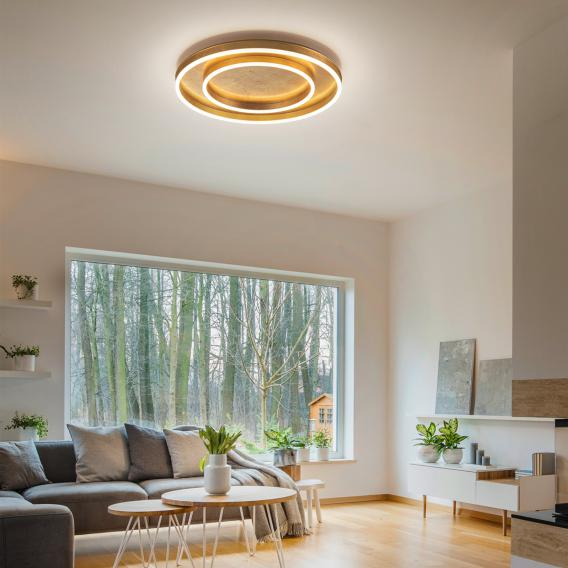 Helestra Sona LED ceiling light with dimmer, 2 heads