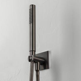 Herzbach Design iX PVD bath/shower set seven square with shower bracket & connection length: 1250 mm, black steel