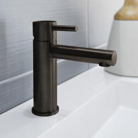 Herzbach Design iX PVD Mitigeur un trou pour lavabo acier noir, sans garniture de vidage
