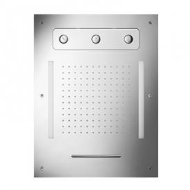 Herzbach Living Spa ceiling-mounted LED overhead shower, multi-functional 3 brushed stainless steel