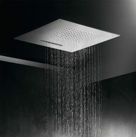 Herzbach Living Spa iX recessed overhead rain shower, multi-functional 2, 500 x 500 mm brushed stainless steel