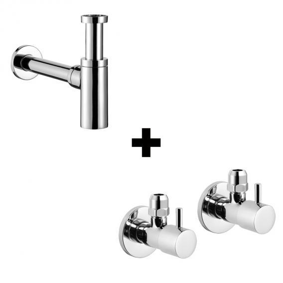 "Avenarius design siphon 1 1/4"" pro line & 2 angle valves 1/2"", round"