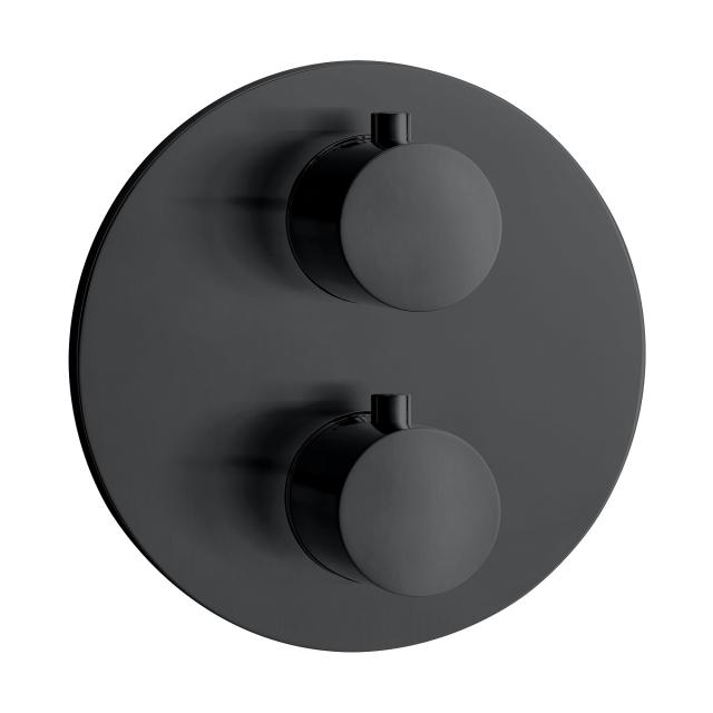 Herzbach DEEP BLACK concealed thermostat for 2 outlets