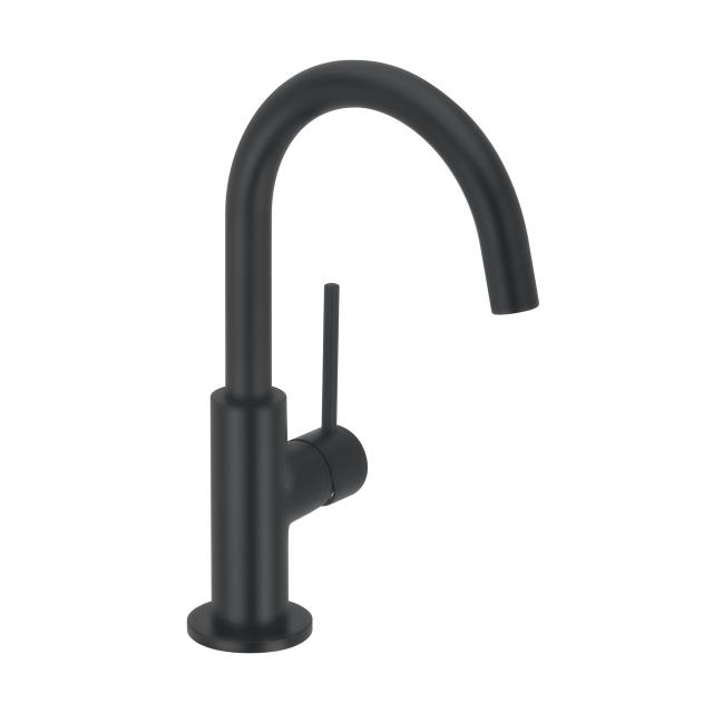 Herzbach DEEP BLACK monobloc basin mixer Slim M size with swivel spout, without waste set
