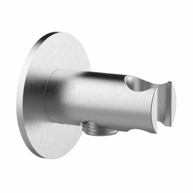 Herzbach Living Spa iX shower wall elbow with integrated shower bracket seven round brushed stainless steel