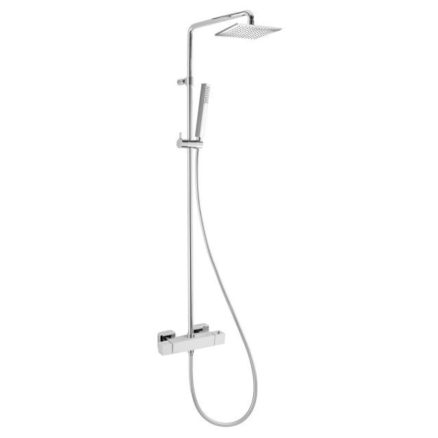 Herzbach Living Spa shower column with shower thermostat square, with overhead rain shower