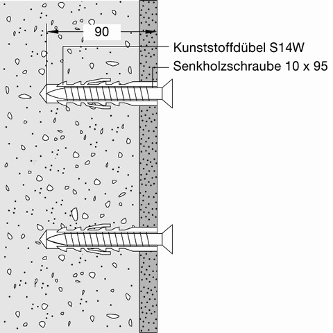 Hewi fixtures for concrete walls