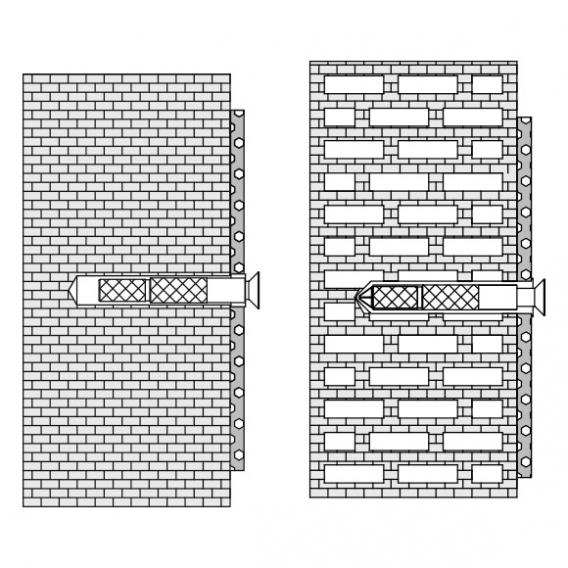 Hewi fixtures for hollow blocks, perforated bricks, solid bricks