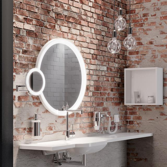 Hewi LED wall-mounted beauty mirror, with 5x magnification chrome