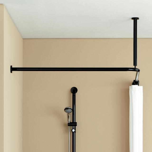 Hewi Series 801 shower curtain rail with ceiling support and shower curtain jet black