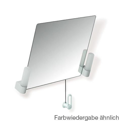 Hewi Series 801 tiltable mirror with lighting pure white