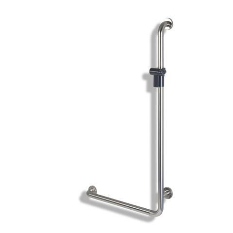 Hewi Series 805 L-shaped grab rail with shower glider pure white