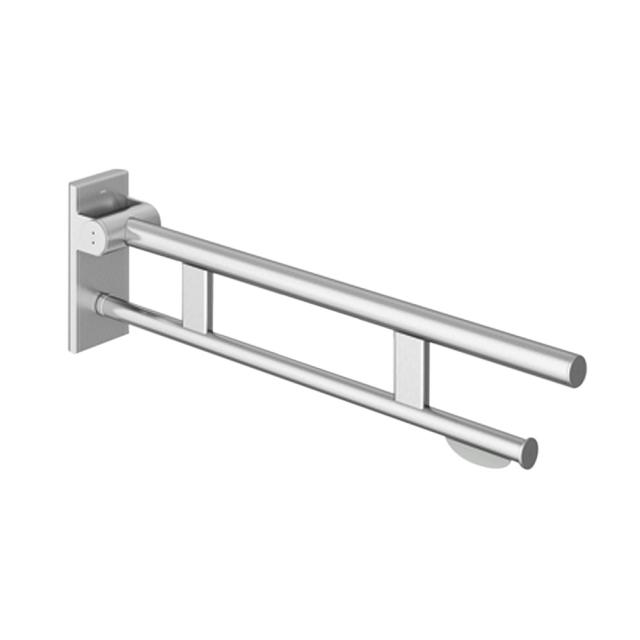 Hewi System 900 hinged support rail Duo with toilet roll holder brushed stainless steel