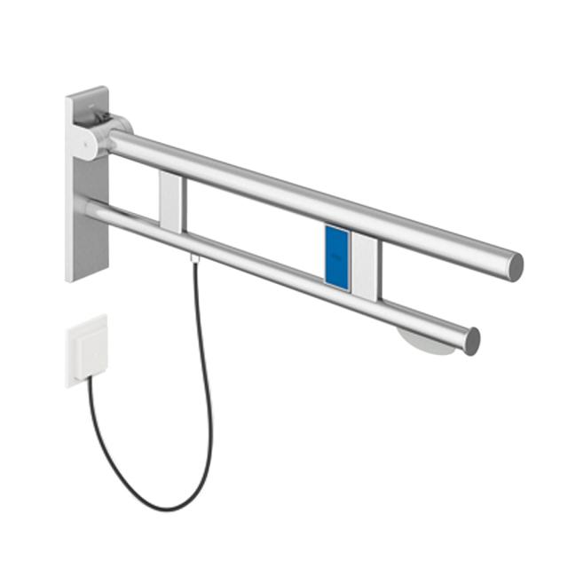 Hewi System 900 hinged support rail with flushing mechanism & toilet roll holder brushed stainless steel