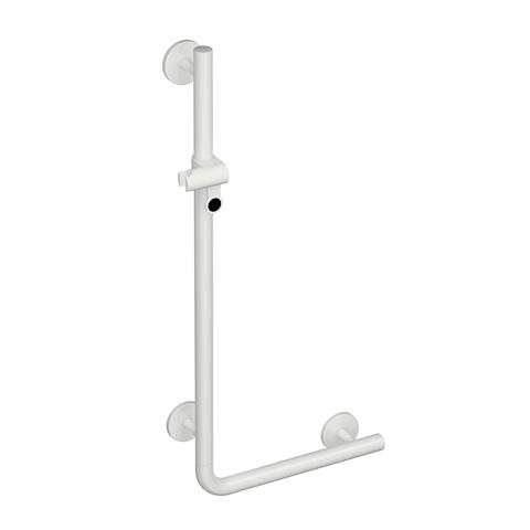 Hewi Universal L-shaped grab rail with shower rail signal white/black