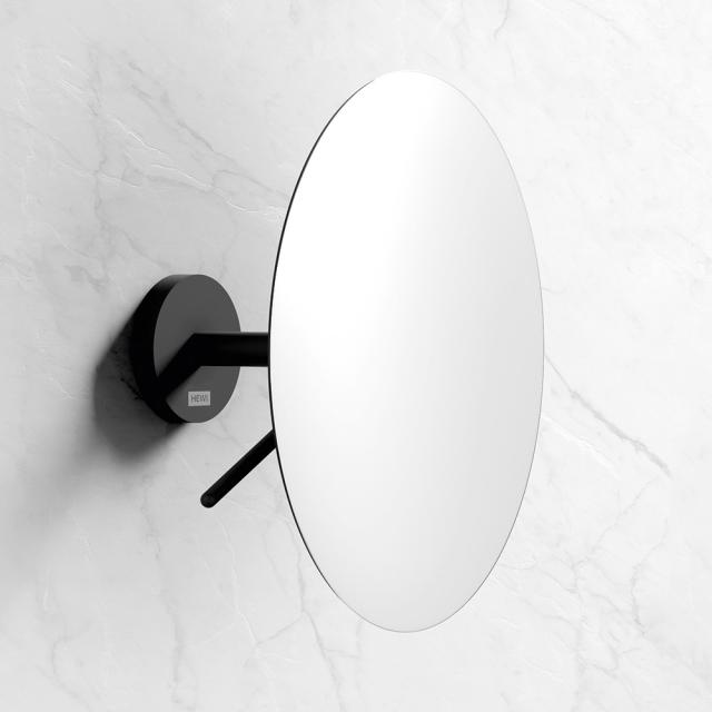 Hewi wall-mounted beauty mirror, with 3x magnification matt black