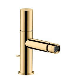 AXOR Uno single lever bidet mixer, zero handle, with pop-up waste set polished brass
