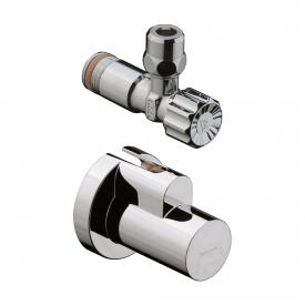 "Hansgrohe angle valve 1/2"" x 3/8"", with and cover chrome"