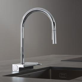 Hansgrohe Aquno Select M81 single lever kitchen mixer with pull-out spray and sBox chrome
