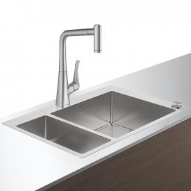 Hansgrohe C71 Select sink combination 180 x 450, with 2 bowls W: 75.5 D: 50 cm stainless steel look
