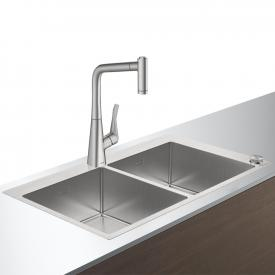 Hansgrohe C71 Select sink combination 370 x 370, with 2 bowls W: 86.5 D: 50 cm stainless steel look