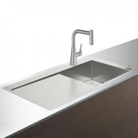 Hansgrohe C71 Select sink combination 450 with draining board stainless steel look